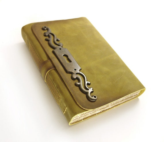 Journal - Victorian Times Leather Cover Notebook - Key Hole Escutcheon