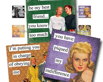 1x1 Digital Collage Sheet Retro Brazen Broads III Quotes Scrabble Tile Printable Images Square Inch Words Sayings Typography