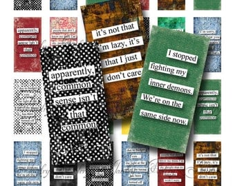 1x2 Domino Collage Sheets Quirky Quotes Scrabble Tile Digital Collage Sheet Images Rectangles Dominos Words Sayings