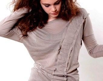 Light grey top, Women top, Cotton t-shirt , Wide neck T-shirt , Lolg sleeves, Mocha Brown top, Sale