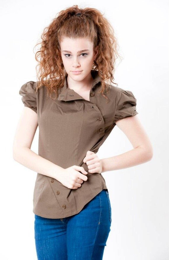 Women Blouse, Top Tailored, Brown, Puff Short Sleeves, Cap Sleeves,  50% Sale, Free Shipping