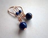 Earrings, copper, gemstone, lapis lazuli, handmade by NaturalCandy Stone of Heaven