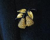 50S PEAR fruit rhinestone  and enamel brooch pin
