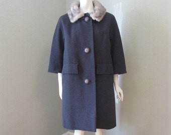50s Dark Gray Winter coat with silver MINK COLLAR medium