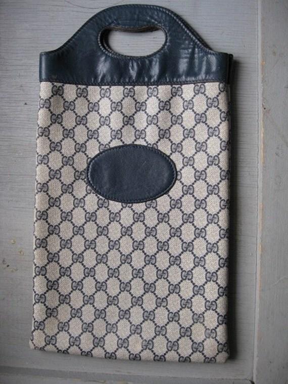 70s Vintage Gucci Tote Bag Navy Logo Purse