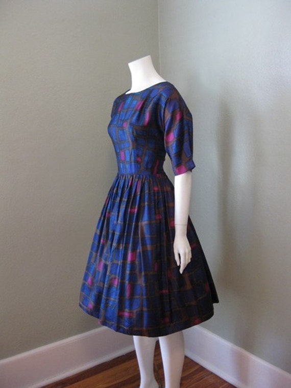 50s Full Skirt Mad Men June Cleaver Dress Medium
