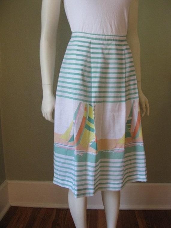 Sale 80s Novelty Print SHIPS dirndl skirt size small