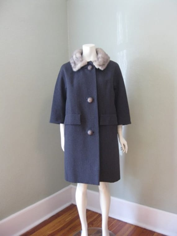 50s Dark Gray Winter coat with silver MINK COLLAR medium