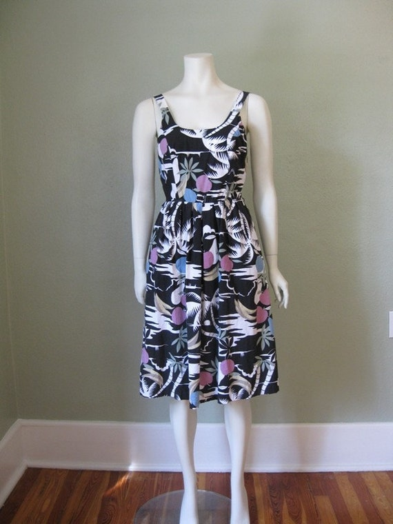 80s black and white MIAMI sundress size small