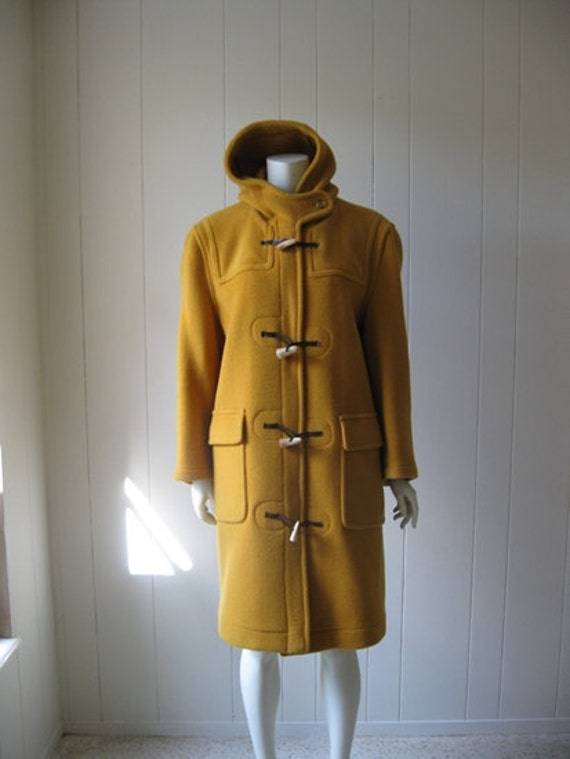 70s mustard WOOL ANORAK with horn toggle buttons size medium Abercrombie and Fitch