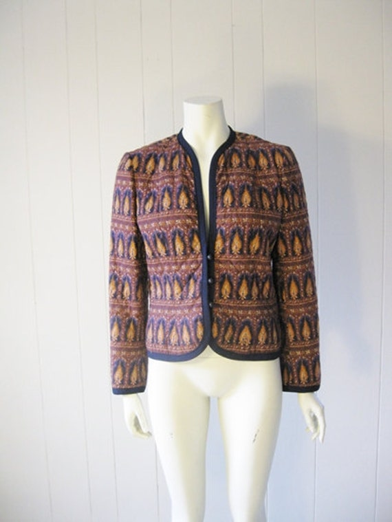 80s cotton QUILTED JACKET in paisley print size medium