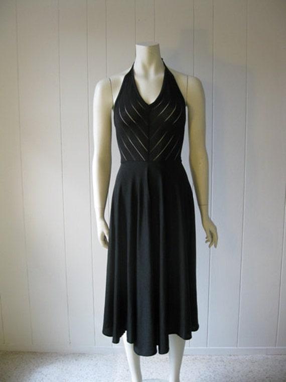 70s Super SEXY black halter DISCO DRESS size small