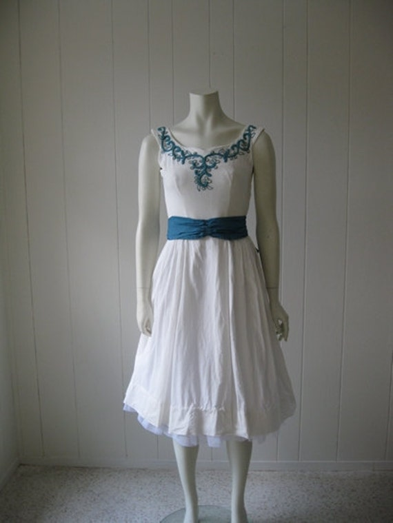 50s Johnathan Logan BLUE SASH  dress size small XS Reserved