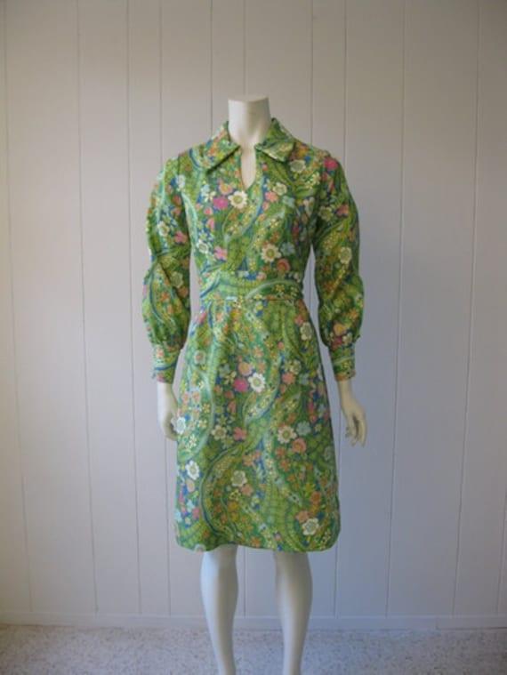 60s GREEN GARDEN fitted sheath dress size medium