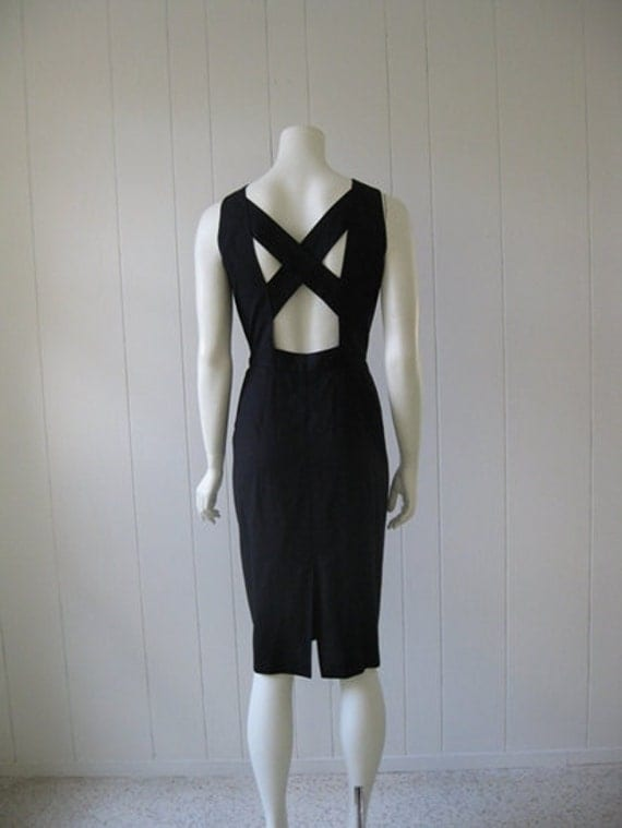80s OPEN BACK black  cocktail dress size medium