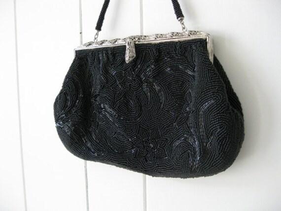 50s BLACK BEADED evening bag formal