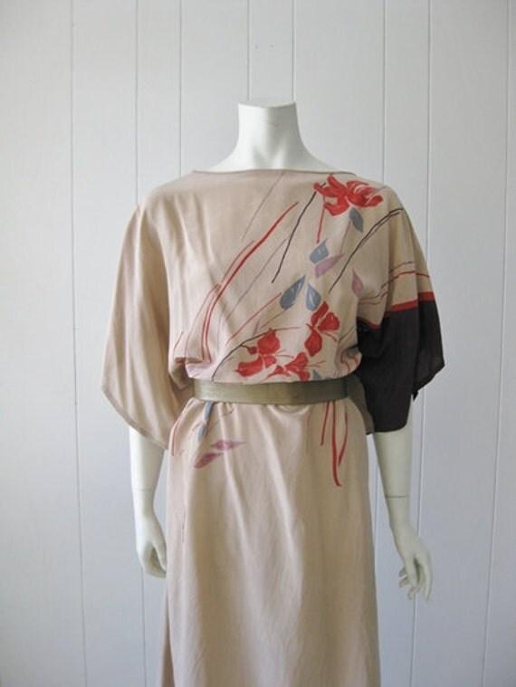 80s silk KIMONO DRESS size medium large RESERVED