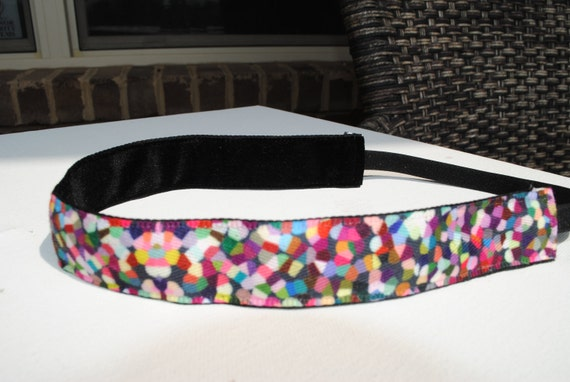 Non Slip Ribbon Headband - Confetti Multi Color Print - Running - Working Out - or Everyday