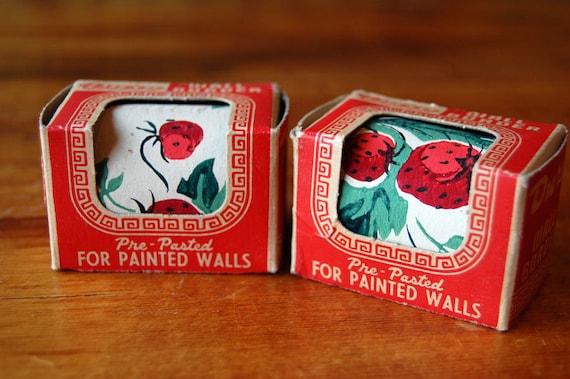 2 Vintage Duro Wall Border Strawberries Kitschy Wallpaper 1950s