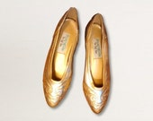 Gold and silver women's ballet flats, size 6.5