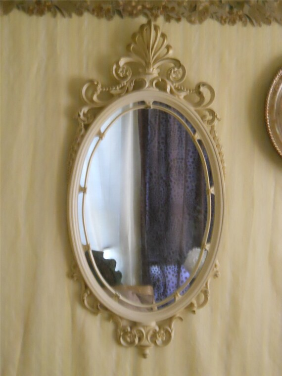 Ornate Off-White/Gold Accented Wooden Vintage Mirror