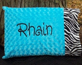 "Personalized Pillowcase Zebra Turquoise Minky Swirl ""Custom Made"""