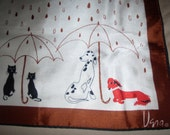 Vintage Vera Scarf Cats and Dogs in the Rain