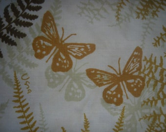 Vera Ferns and Butterflies Gold and Brown Pillowcase