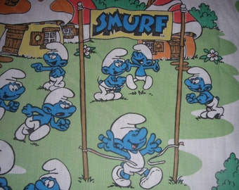 Smurf FITTED TWIN Sheet - Reclaimed Bed Linens