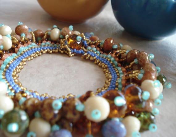 Southwest inspired Autumn Mist Beaded Charm Bracelet