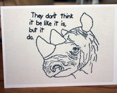 Wise Rhino Embroidery Greeting Card