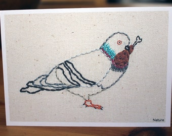 Pigeon Eats Chicken Wing Nature Embroidery Greeting Card