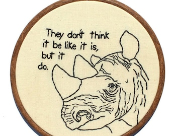 "Wise Rhino Hand Embroidery - 8"" Hoop"