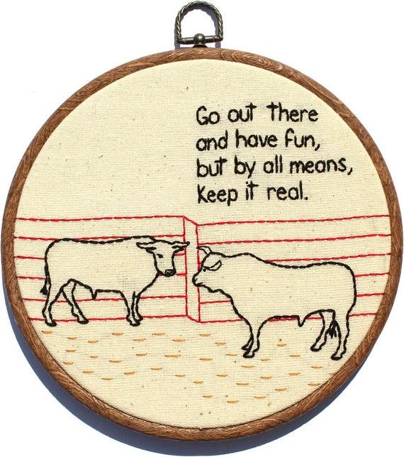 "Bull Pep Talk Hand Embroidery - 8"" Hoop"