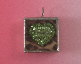 Shadowbox Pendant with Green Heart