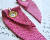 Curve - Hot Pink Leather Earrings