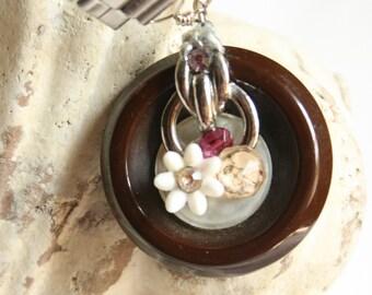 Big Button Watchband Necklace