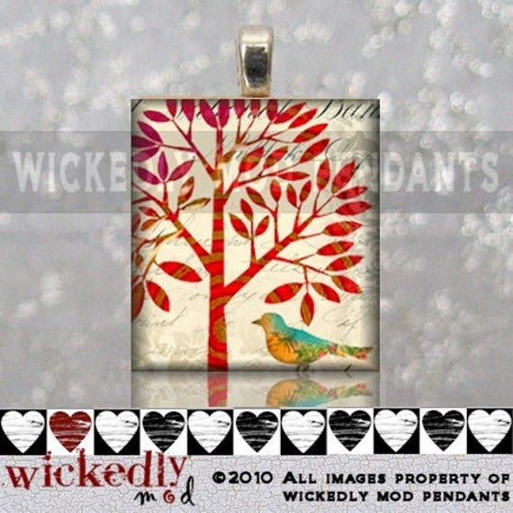 BIRD UNDER A TREE handmade scrabble tile pendant by Wickedly Mod Pendants