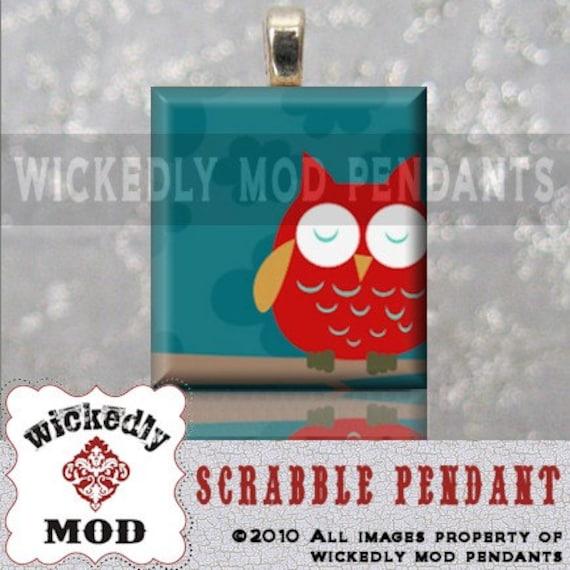 SLEEPY OWL handmade scrabble tile pendant by Wickedly Mod Pendants