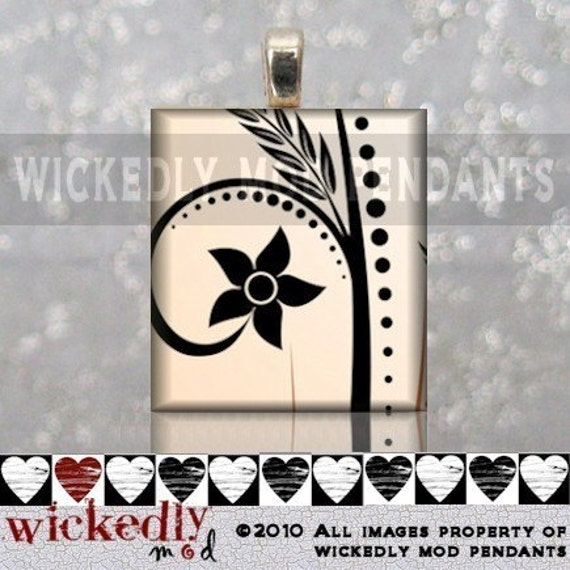 FREE SHINY SILVER CHAIN - PURE SIMPLICITY scrabble tile pendant by Wickedly Mod Pendants