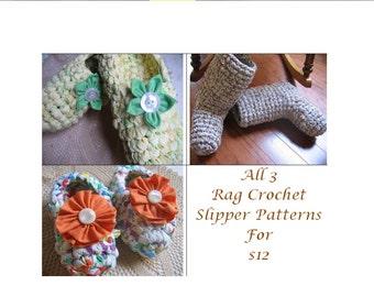 3 Rag Crochet Slipper Patterns