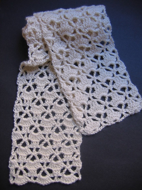 Crochet Patterns Etsy : Lacy Cream Scarf Crochet Pattern by RaggedyAnns on Etsy