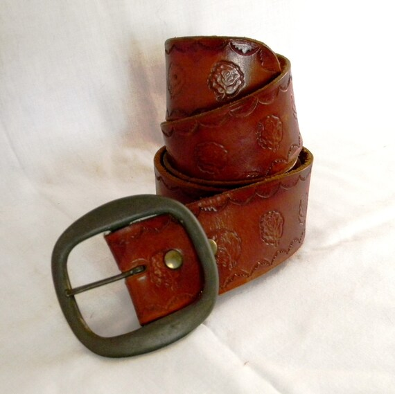 Vintage Tooled Leather Belt with Roses