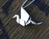 Origami Crane Sterling Silver Necklace