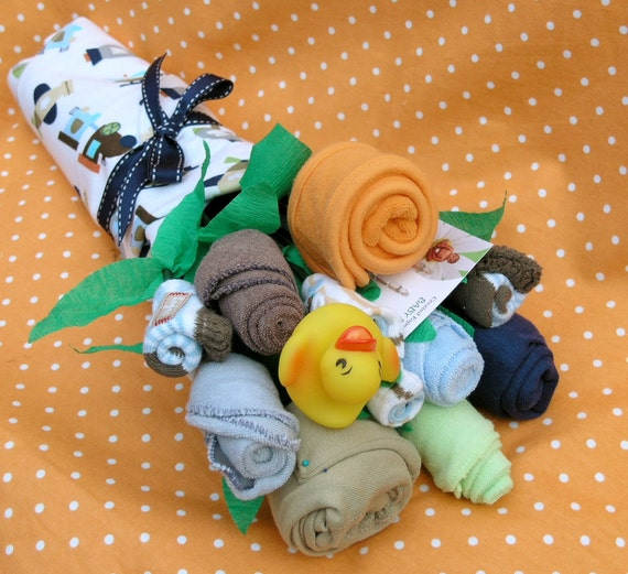 Boy's Baby Clothing Bouquet- 10 pieces: Direct Ship Baby Gift