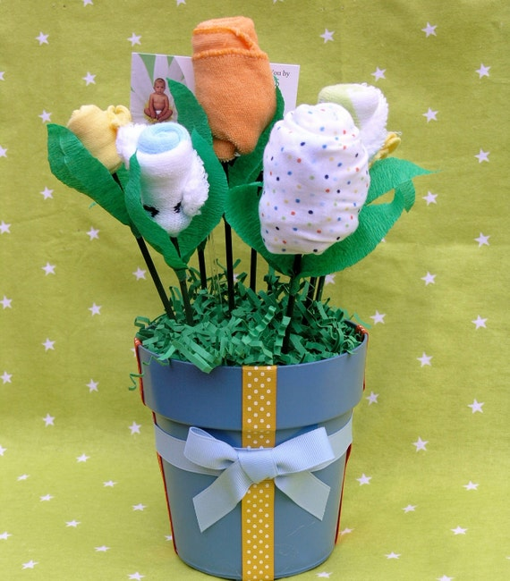 Baby Boy Gift Bouquet Made Of Boy Clothing and Layette: Onesie, Washcloths, Socks Mittens & More