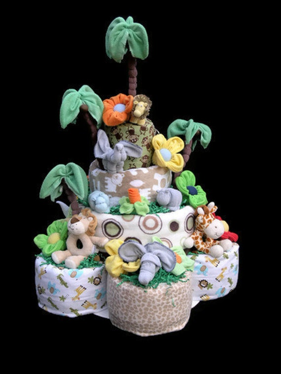 Safari Diaper Cake Diaper Cake For Baby Shower