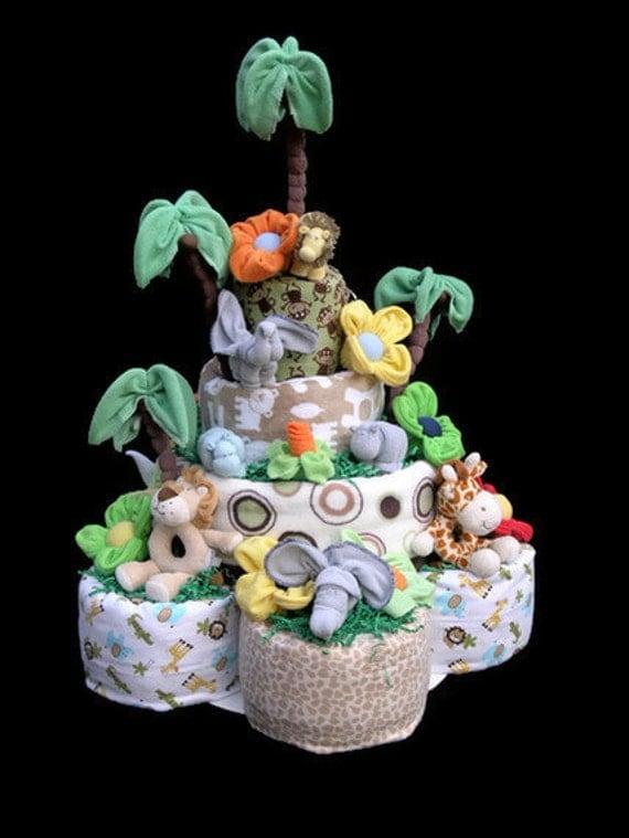 Jungle Theme Diaper Cake Ideas