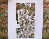 sydney hand cut map