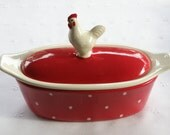 Vintage Style Rooster Butter Boat (3 Piece) - Choose Your Color - Hand Crafted USA Made Pottery